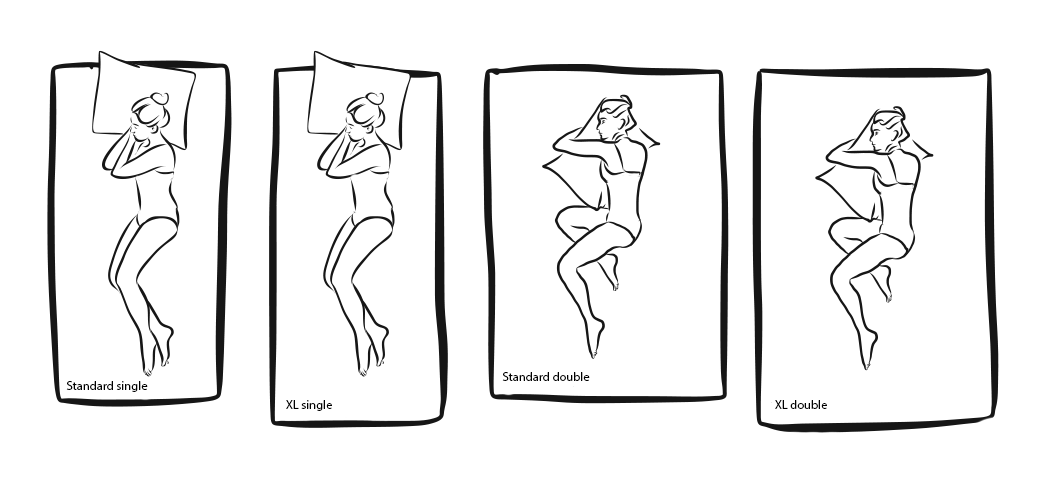 line art of bed sizes