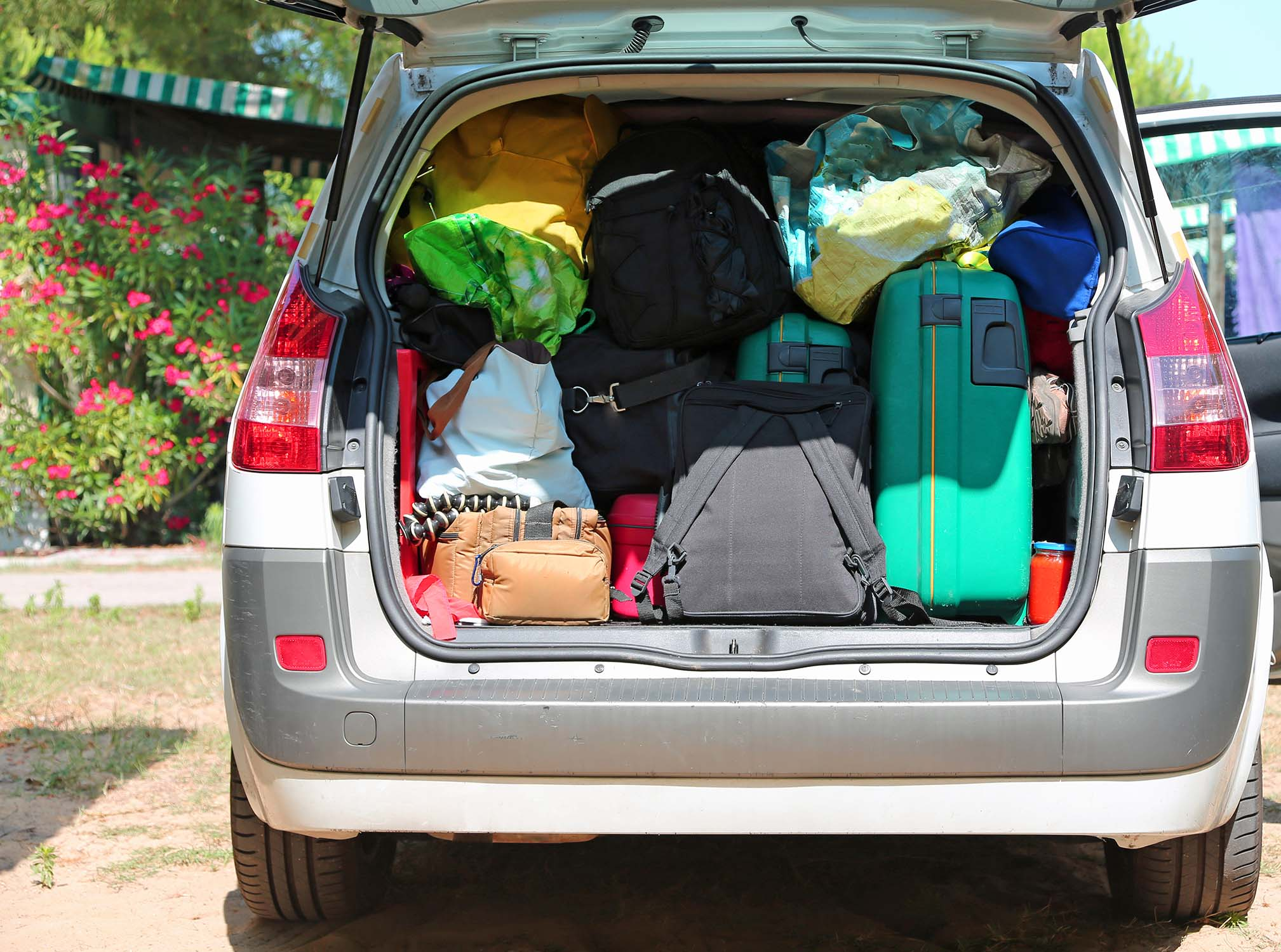 luggage and suitcases in car for departure