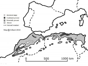 Map of last sitings of barbary lions in 20th Century