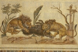 lion and boar mosaic