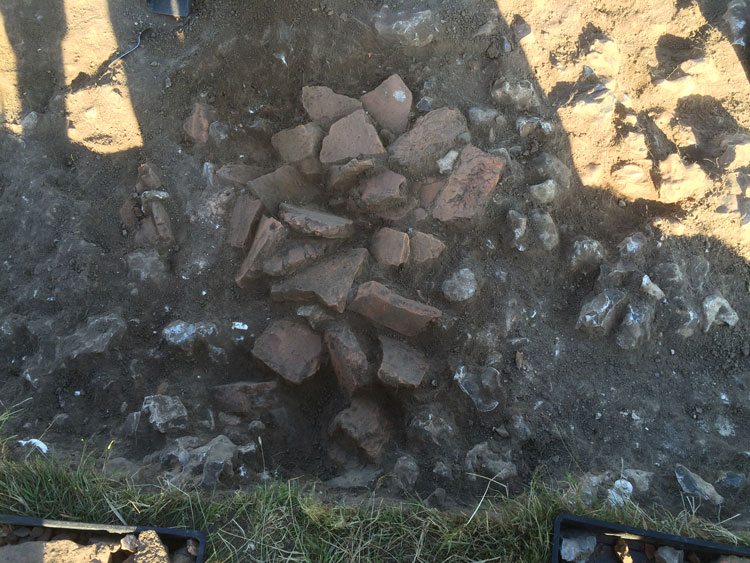 Trench A: a deposit of Roman roof tile and building material