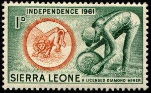 Stamp depicting an worker panning for diamonds.