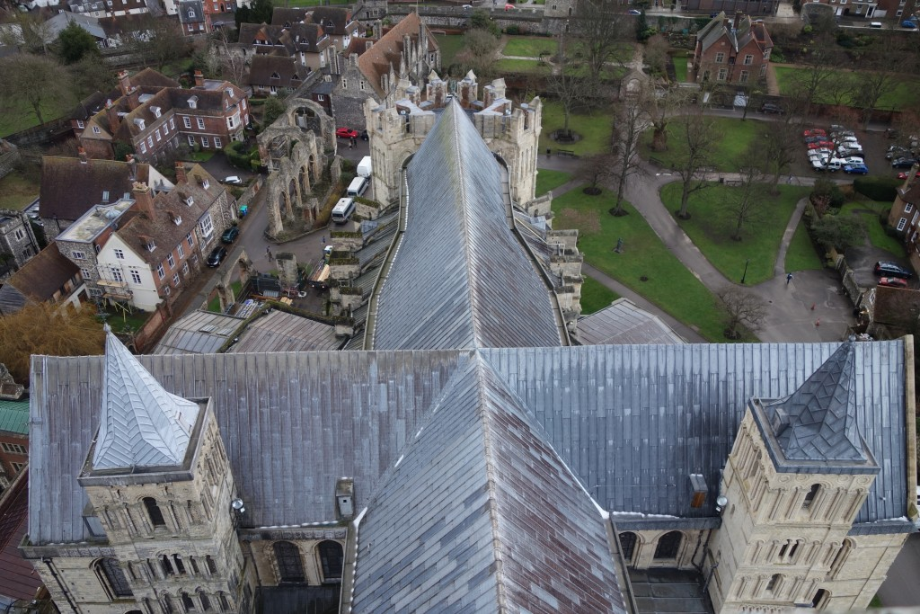 View of the Roof of the Chancel of Canterbury Cathedral from the top of the tower over the crossing.