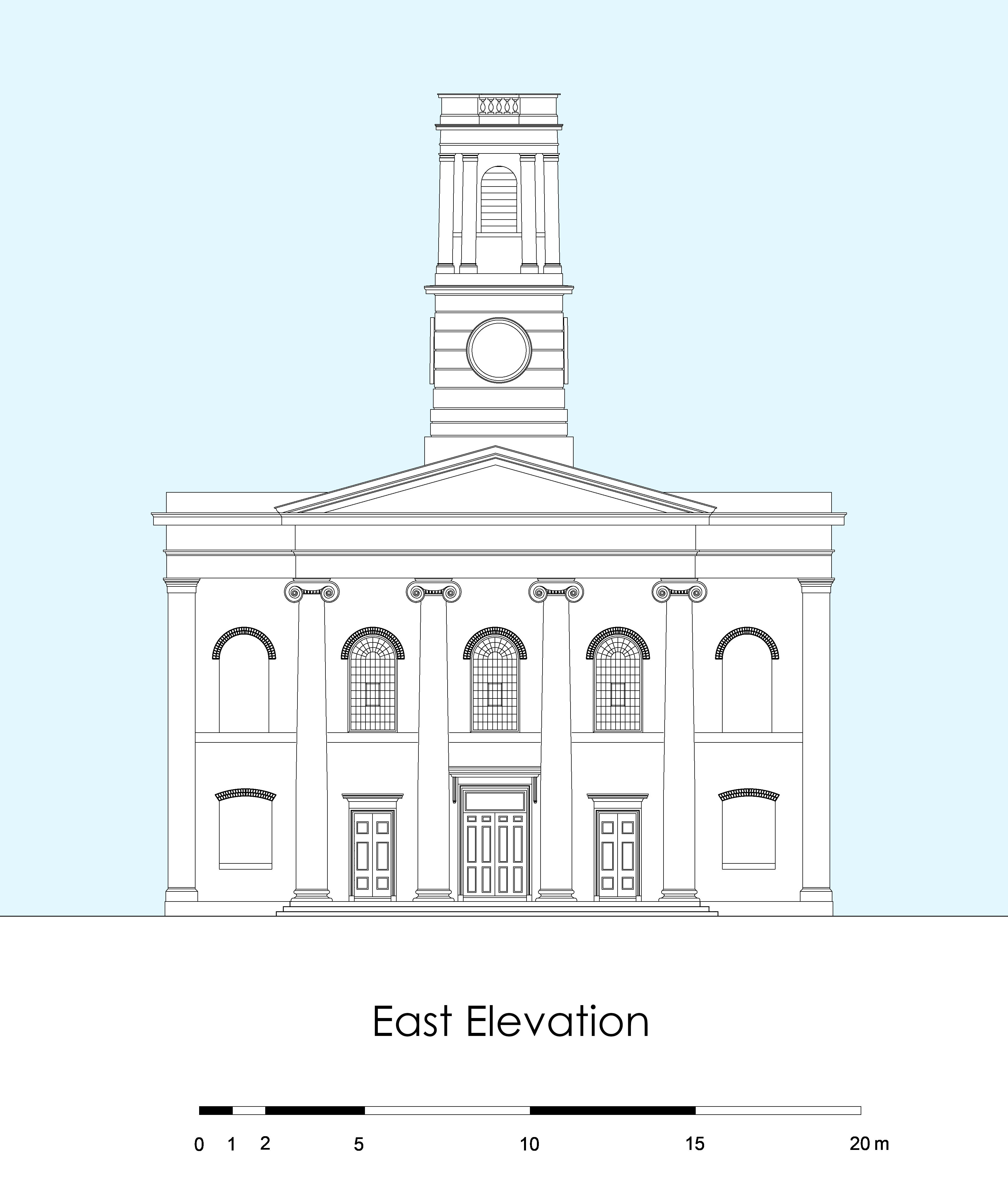 Reconstructed Elevation of the Church.