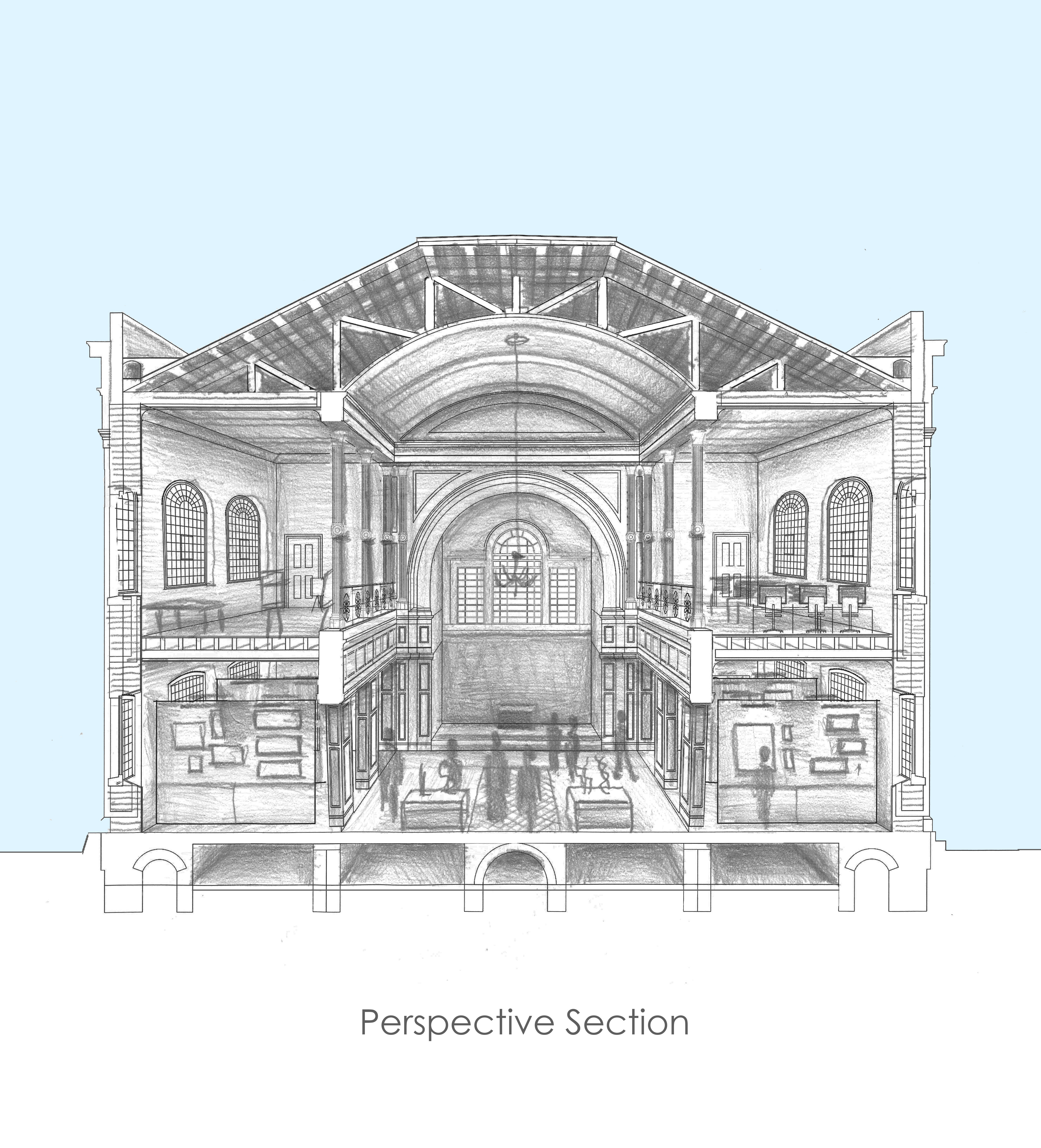 Reconstructed, cut-away perspective of the church