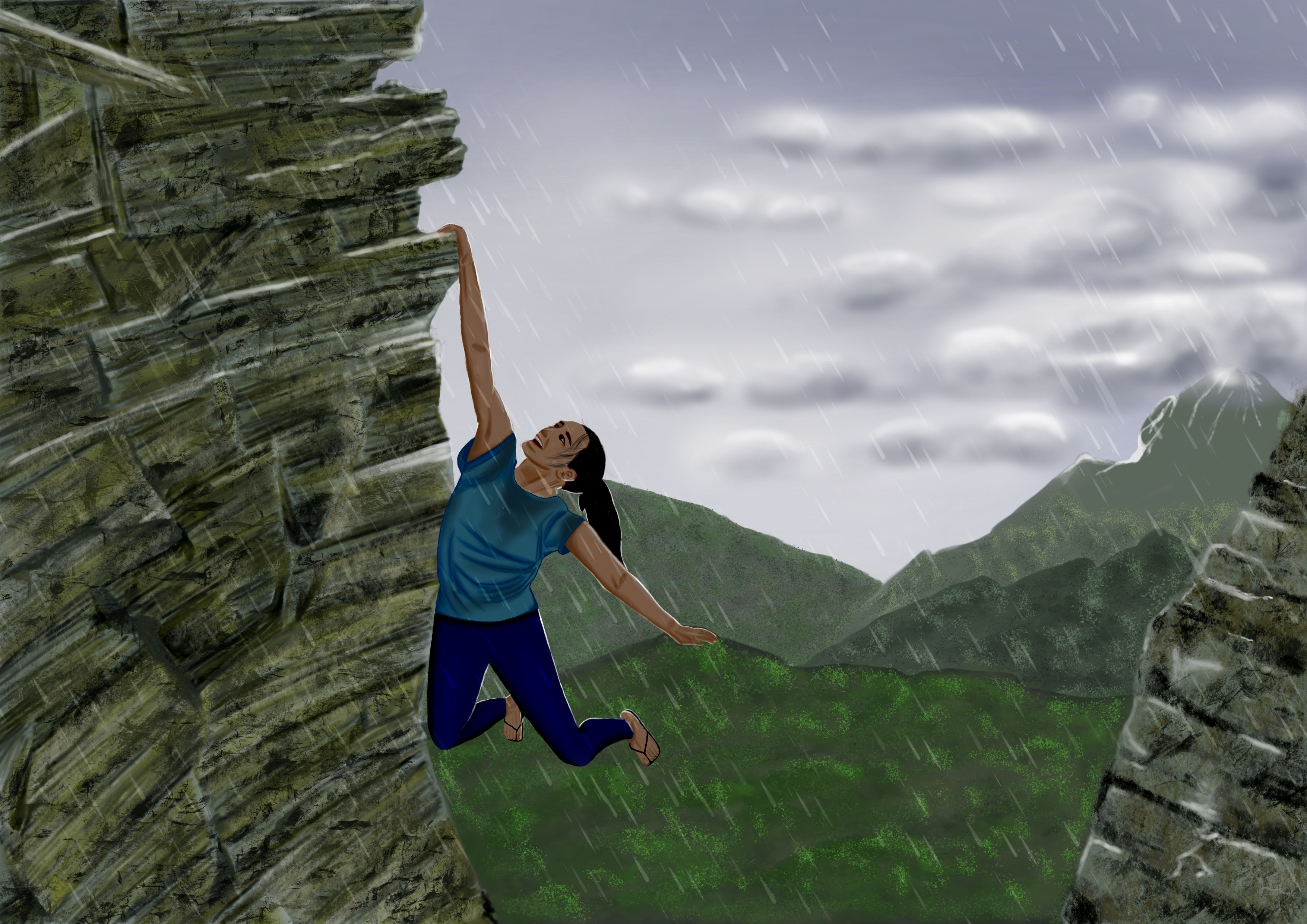 Girl hanging from cliff face with one hand