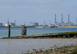 Looking from the Isle of Sheppey across the Medway to the Isle of Grain.