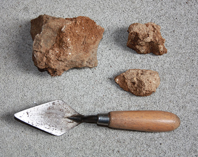Mortar from the Roman building foundation at Trench C.