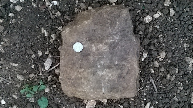 Example of shaped but undressed building stone from surface of field