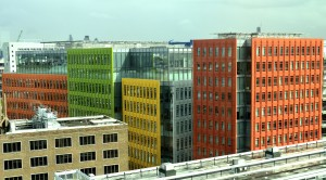 Coloured facades of Central St Giles buildings in Central London