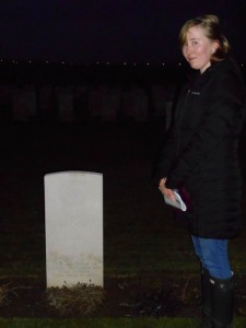 Megan Kelleher at the graveside of her Great-Grandfather, Private C. Bonnard, Royal Warwickshire Regiment, died 30th May 1915, buried at La Plus Douve Cemetery, Belgium.