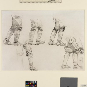 © IWM (Art.IWM ART 16162 7). John Singer Sargent, Study for 'Gassed' Five studies of legs