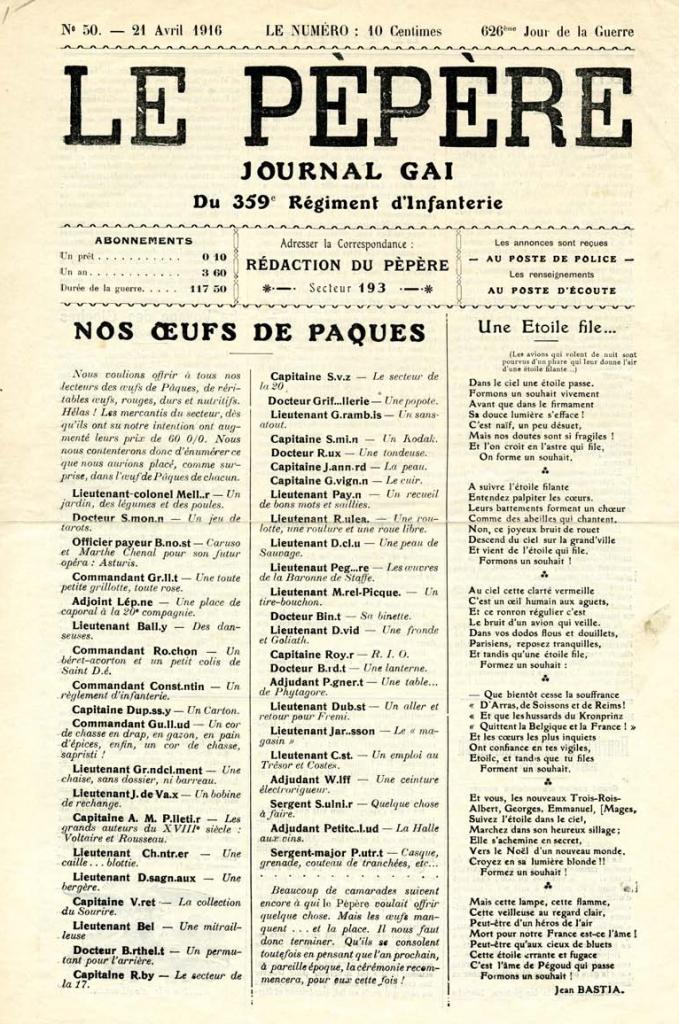 Le Pépère — Journal Gai du 359ème Régiment d'Infanterie, 21 April 1916