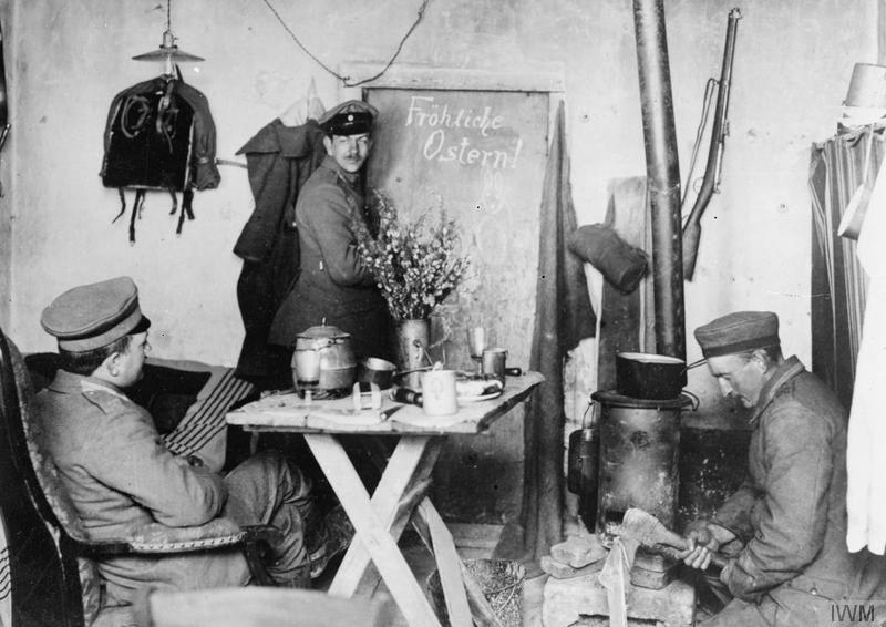 ©German troops celebrating Easter in their dugout in the Champagne, 8 April 1917