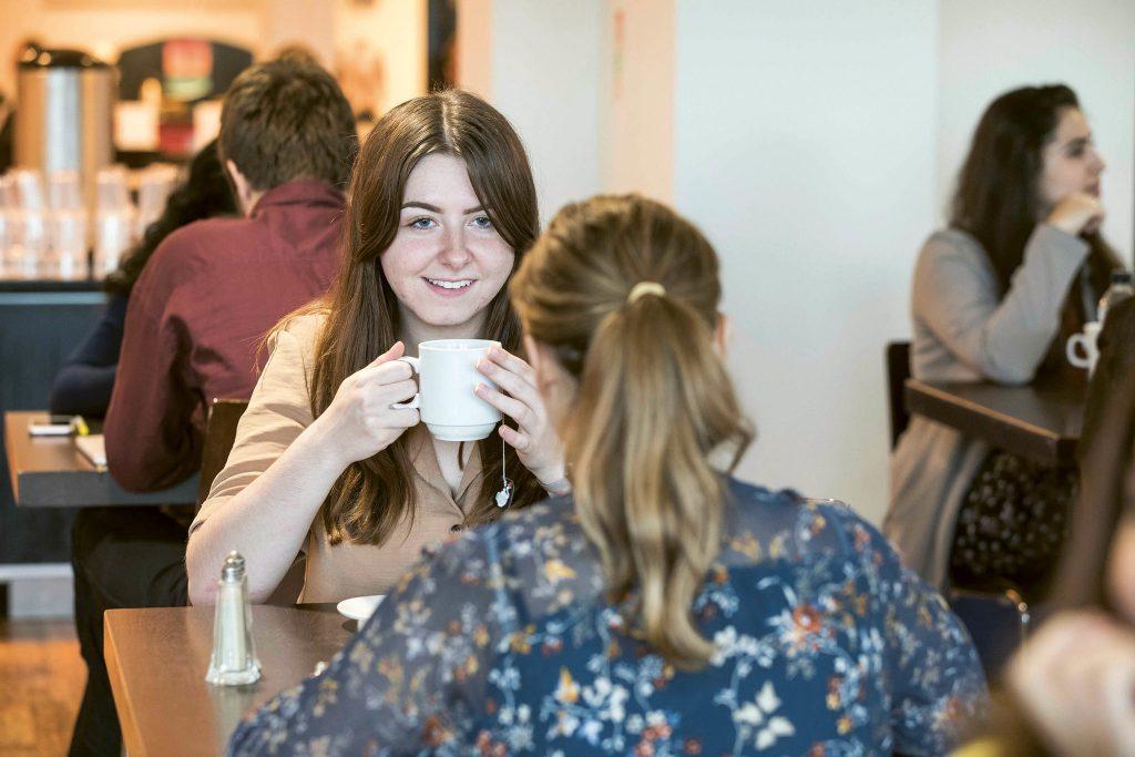 Students sat drinking tea