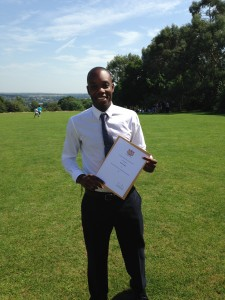 Osneil Drakes won the prize for 'Best Final Year Dissertation (History)'