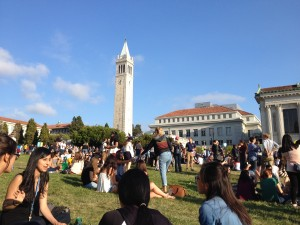 The Campanile (Sather Tower) on campus