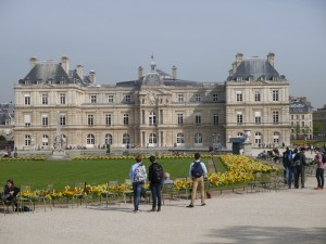 The famous Luxembourg Palace within the nearby Jardin du Luxembourg