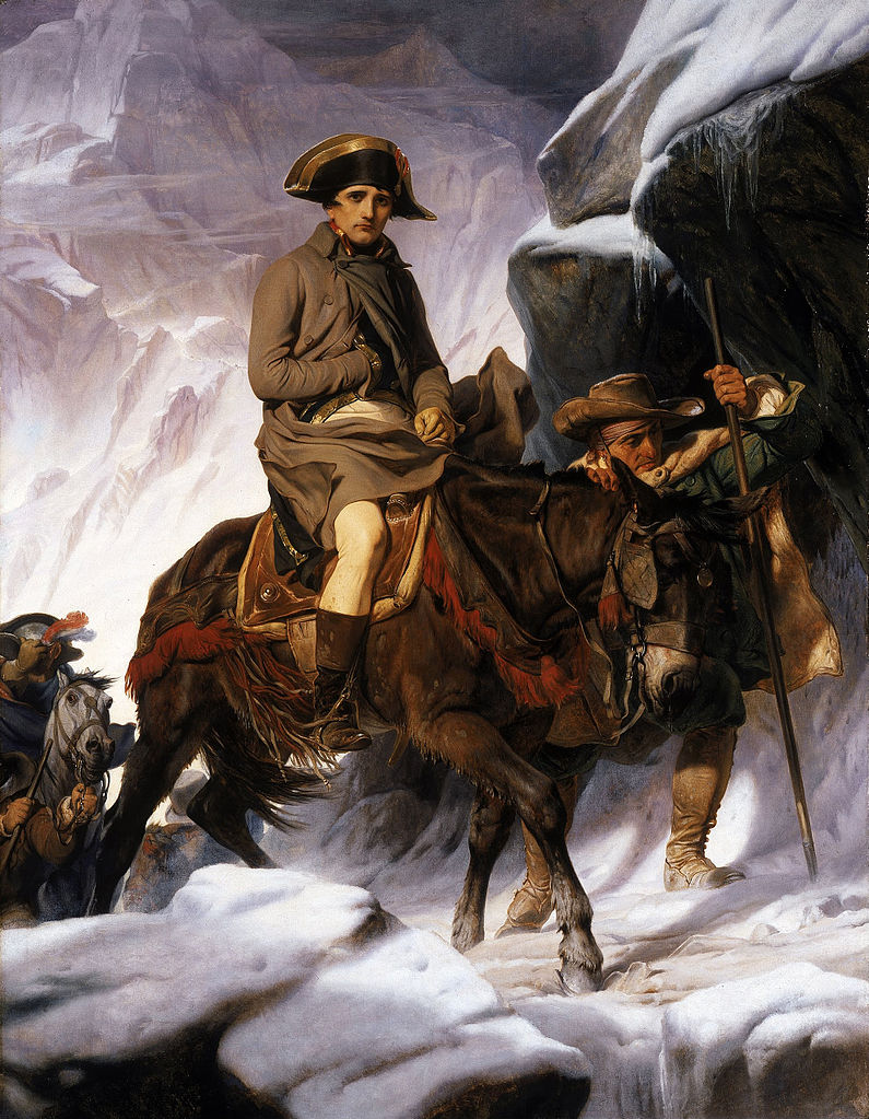 For example, Paul Delaroche's painting of Napoleon crossing the Alps. Less famous than the Belvedere version (the crimson-caped warrior on the back of his rearing horse), it provides historians with a fascinating contrast to the image Napoleon himself perhaps wanted the world to remember.
