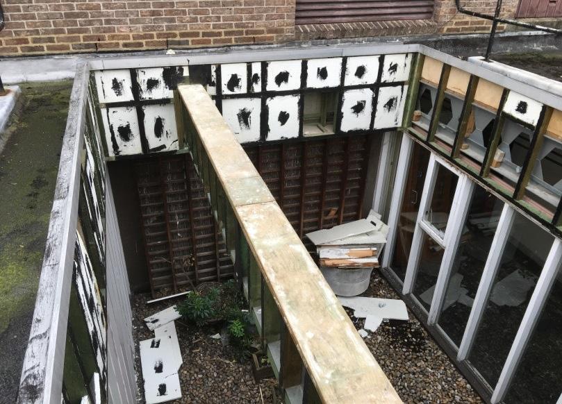 Roof garden after soft strip demolition