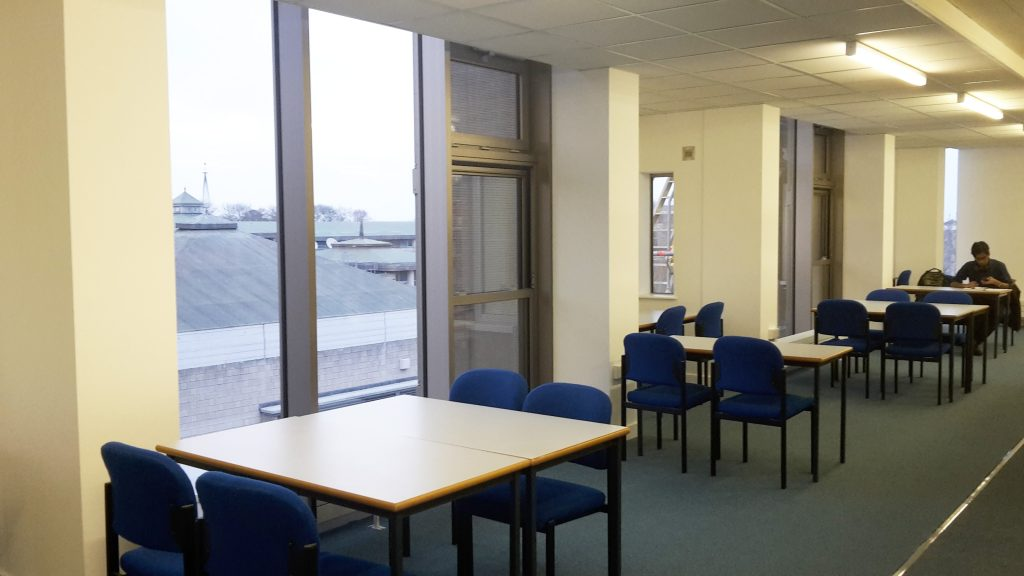 Templeman East: study spaces next to windows