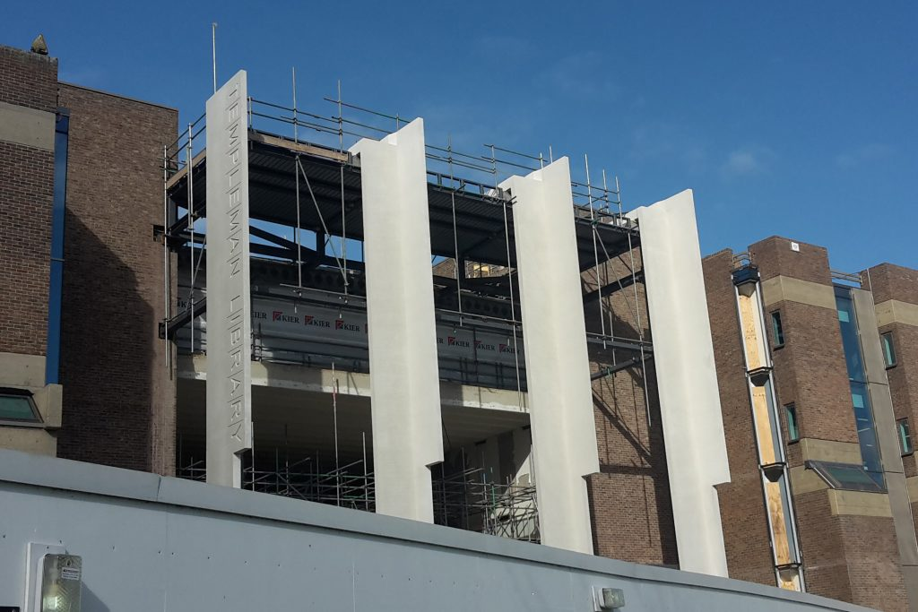 Concrete fins on the Library's new Main Entrance