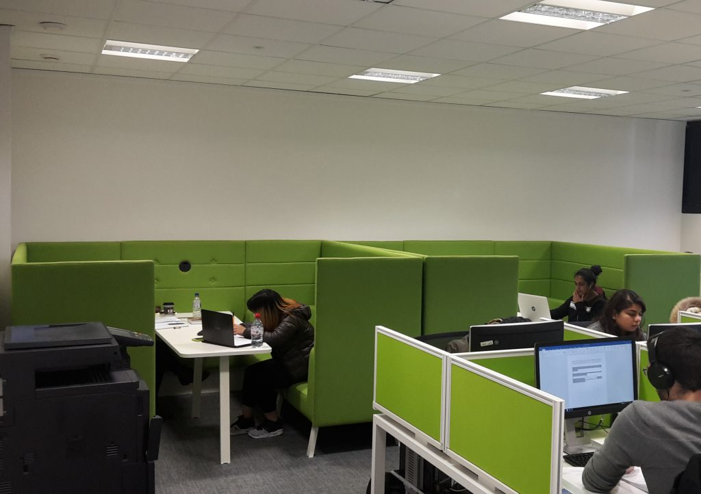 Keynes ground floor PC room: newly refurbished with meeting booths