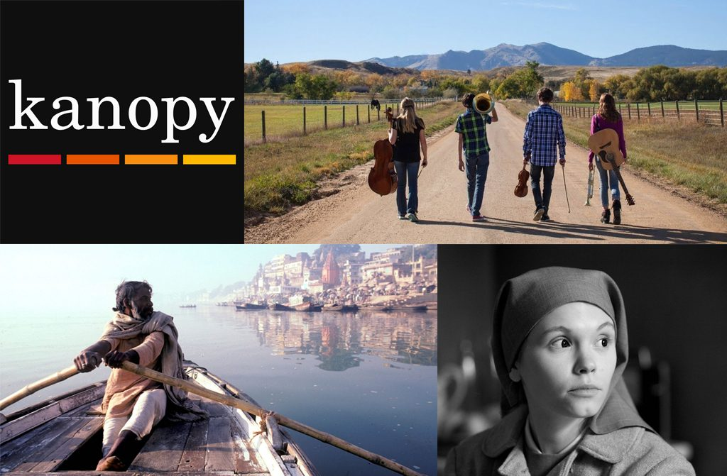 Kanopy logo and stills from Carry the Tune, Forest of Bliss, Ida