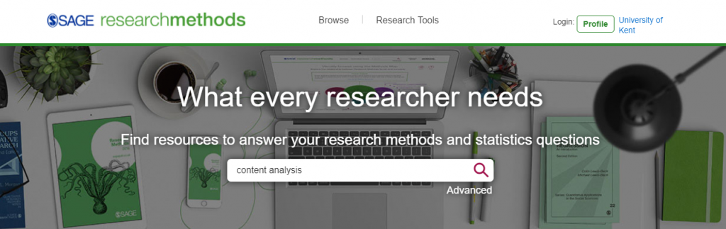Sage research method home page showing a search box with keywords content analysis