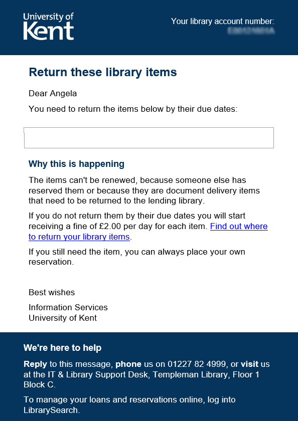 Library notice sent in error, with empty box where items should be shown