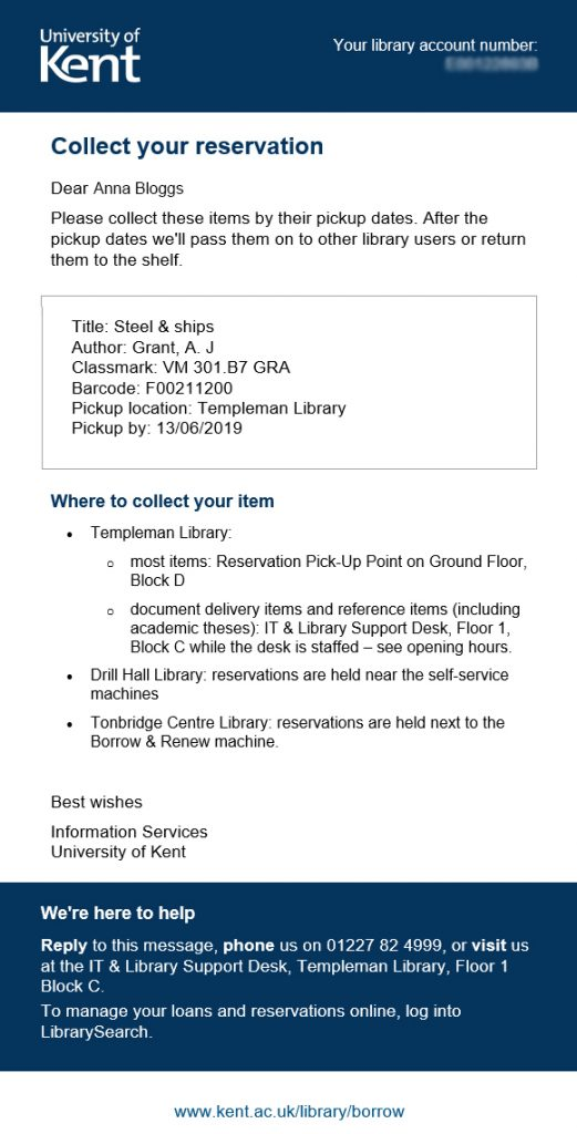 Example of a new library email to collect your reservation