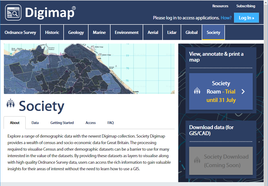 Screenshot of Digimap, shows large map, menu options and description of resource