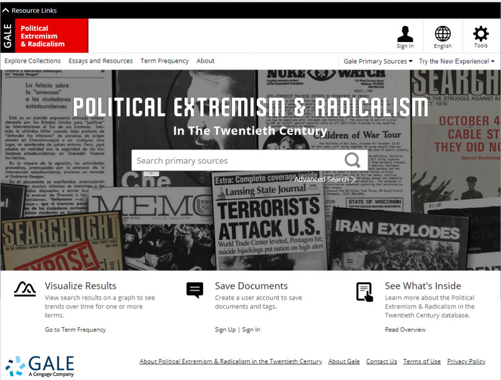 Political Extremism and Radicalism in the Twentieth Century: homepage has large search box and links to explore the collections, Essays and Resources.