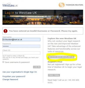 Screenshot of Westlaw login page. Click on Access New Westlaw UK