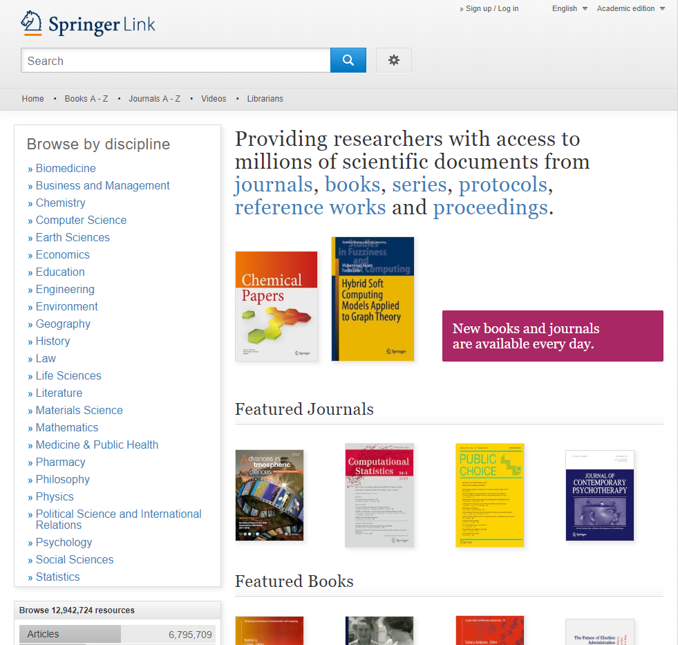 SpringerLink resource: access millions of scientific documents from journals, books, series, protocols, reference works and proceedings.