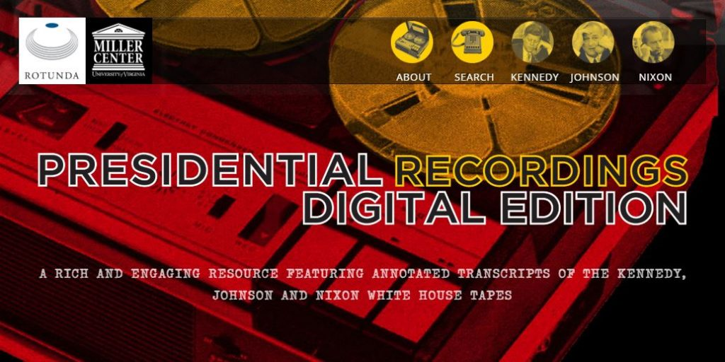 Screenshot from Presidential Recordings Digital Edition