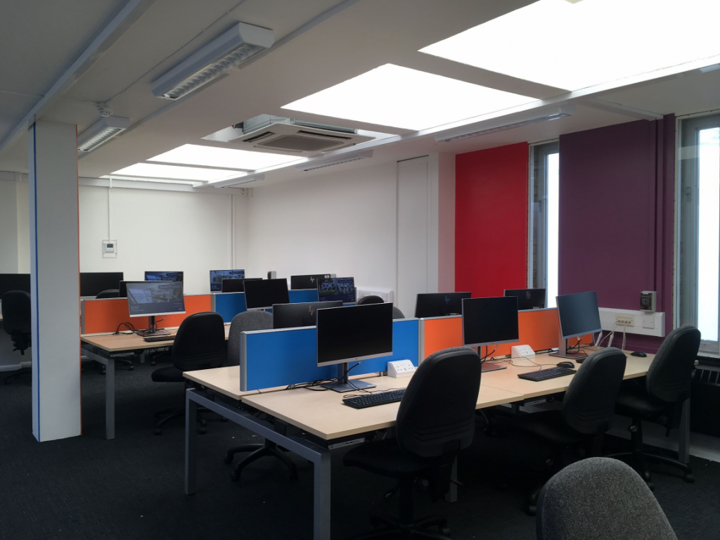 Rutherford PC Room 1 is painted bright colours