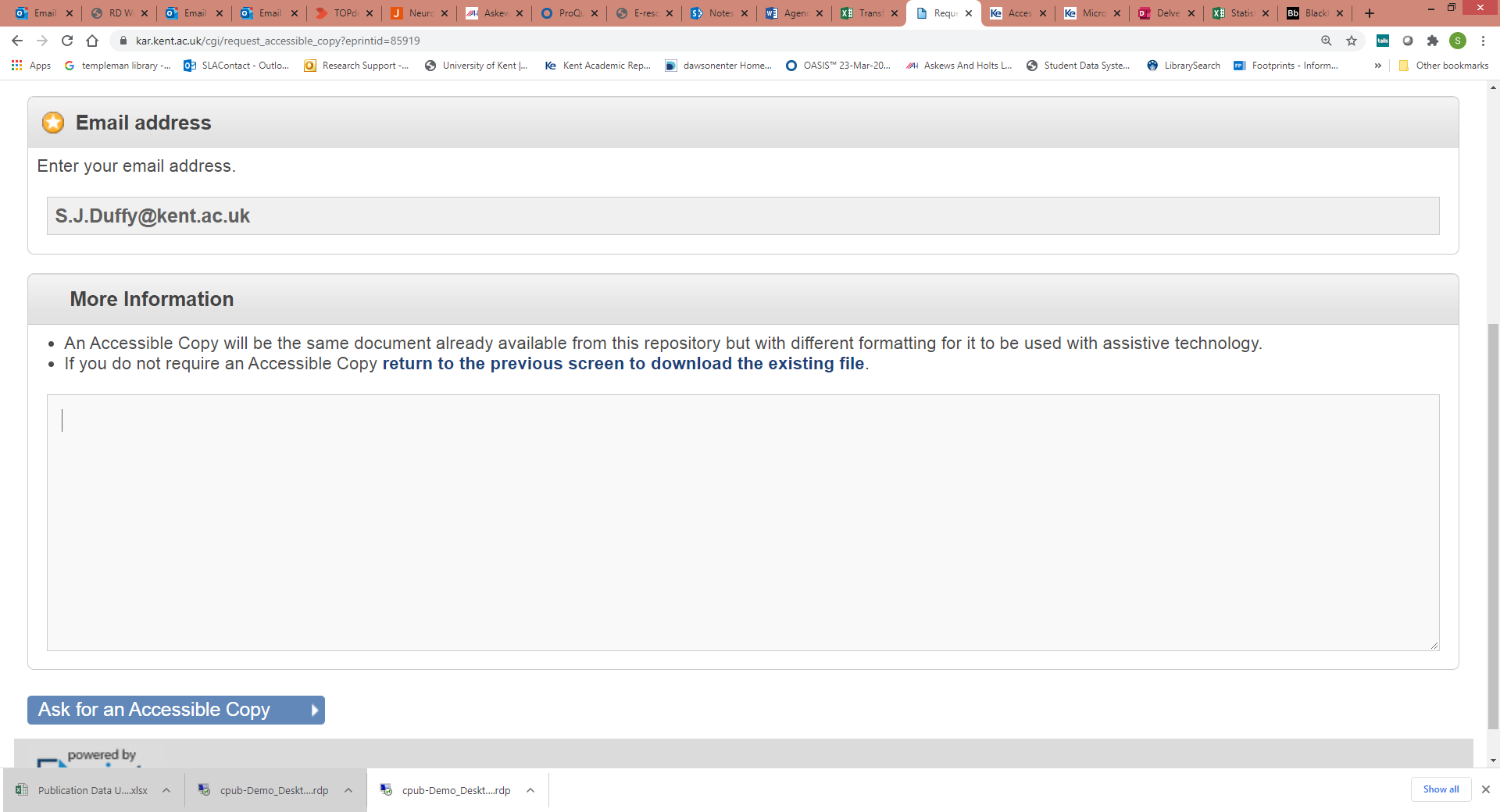Screenshot showing the submit page that displays when users request an accessible version