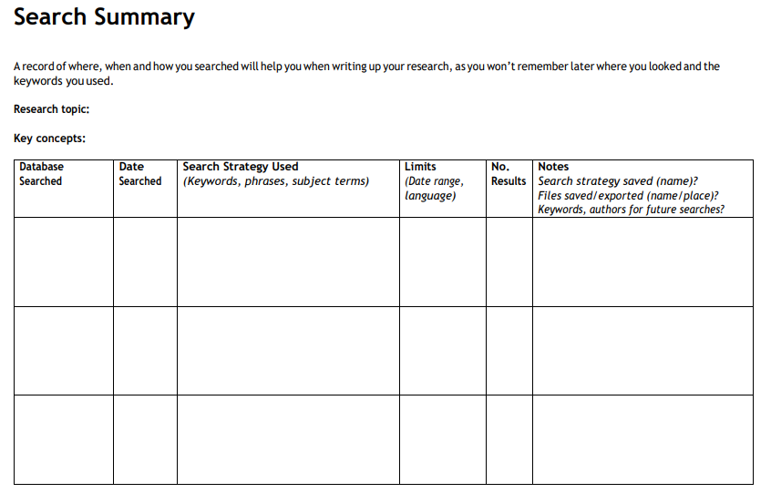 Image of a search strategy table for managing search results