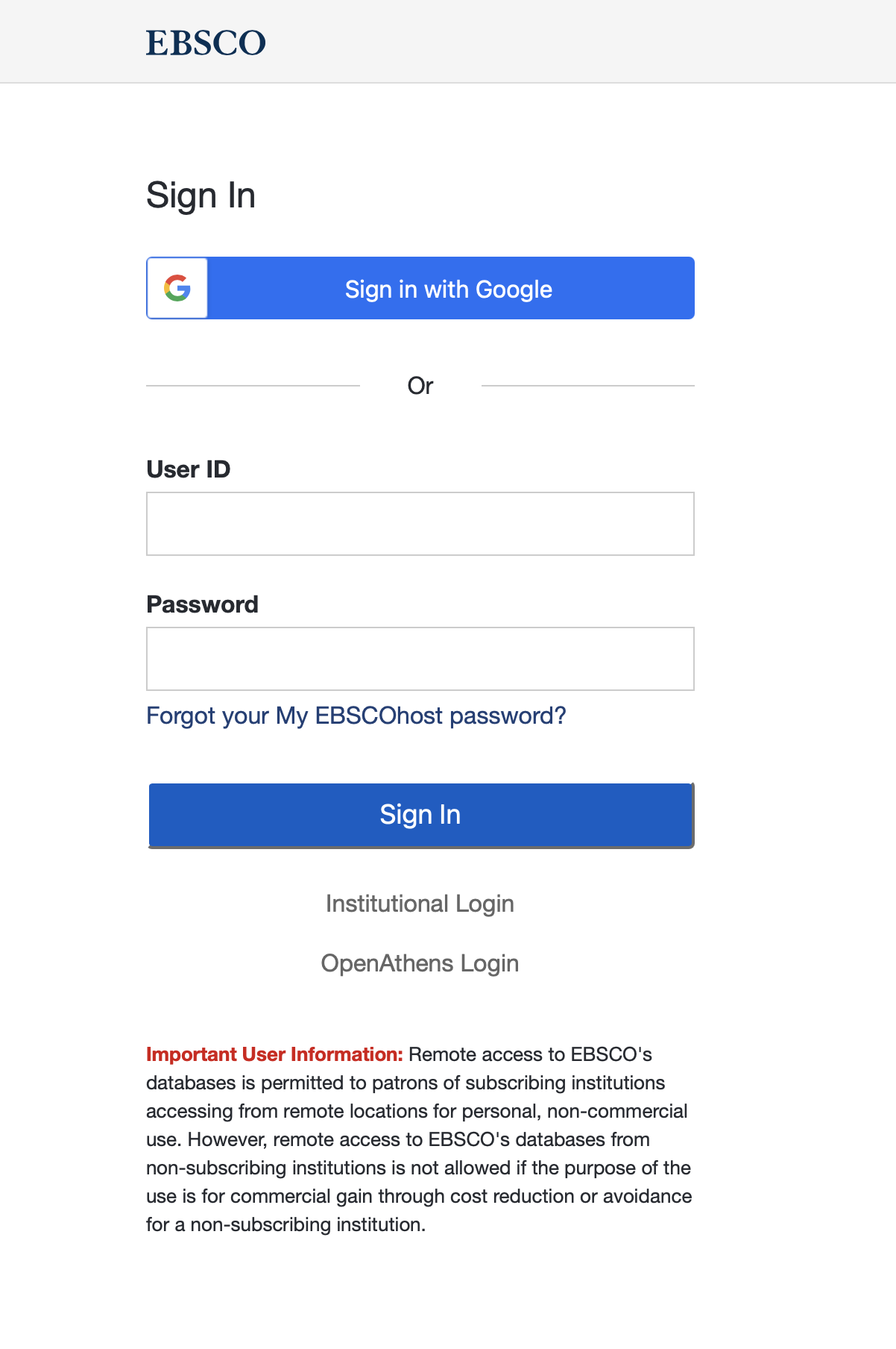 Screenshot of EBSCO sign-in gateway