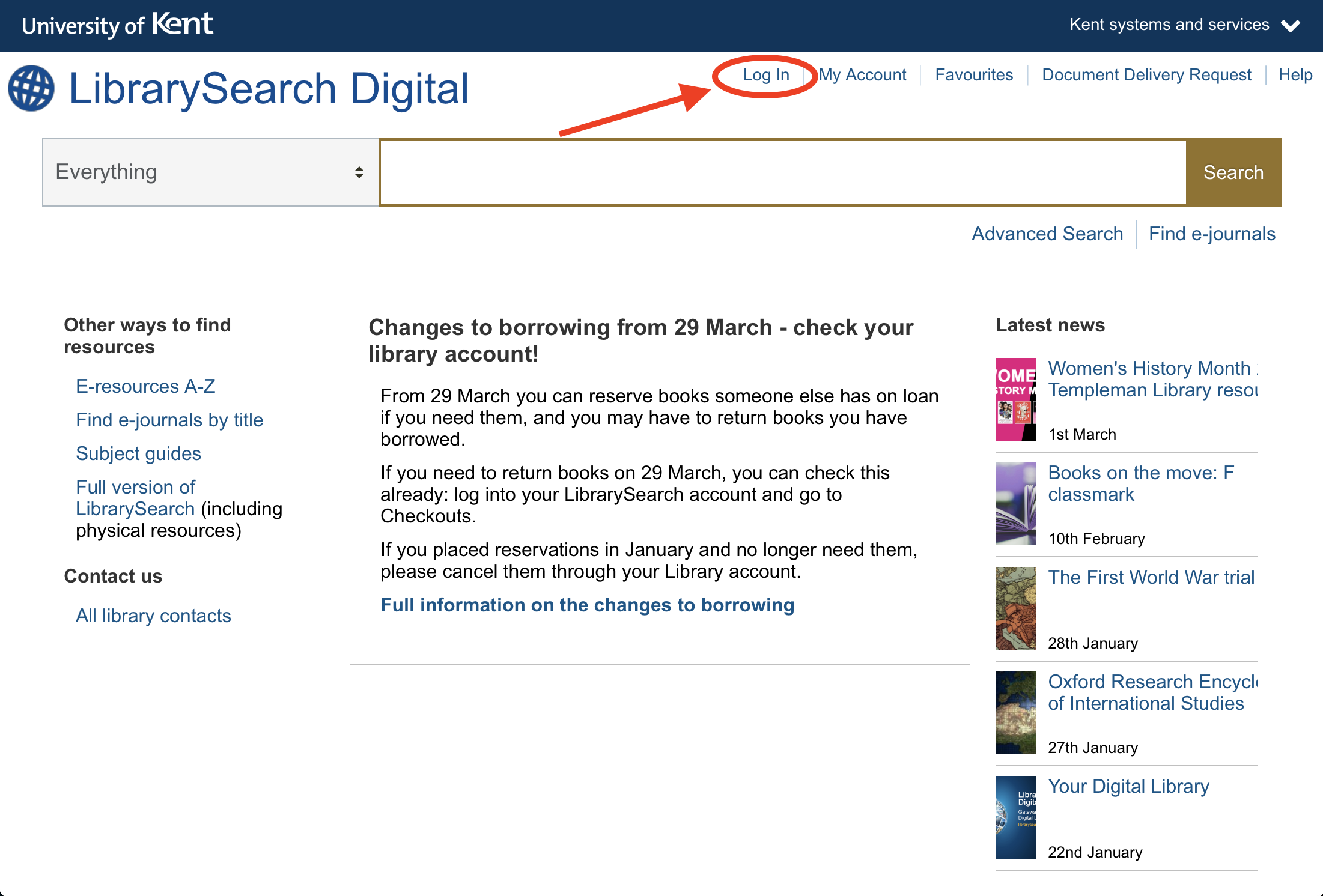 Screenshot of Library Search Digital indicating where to log in