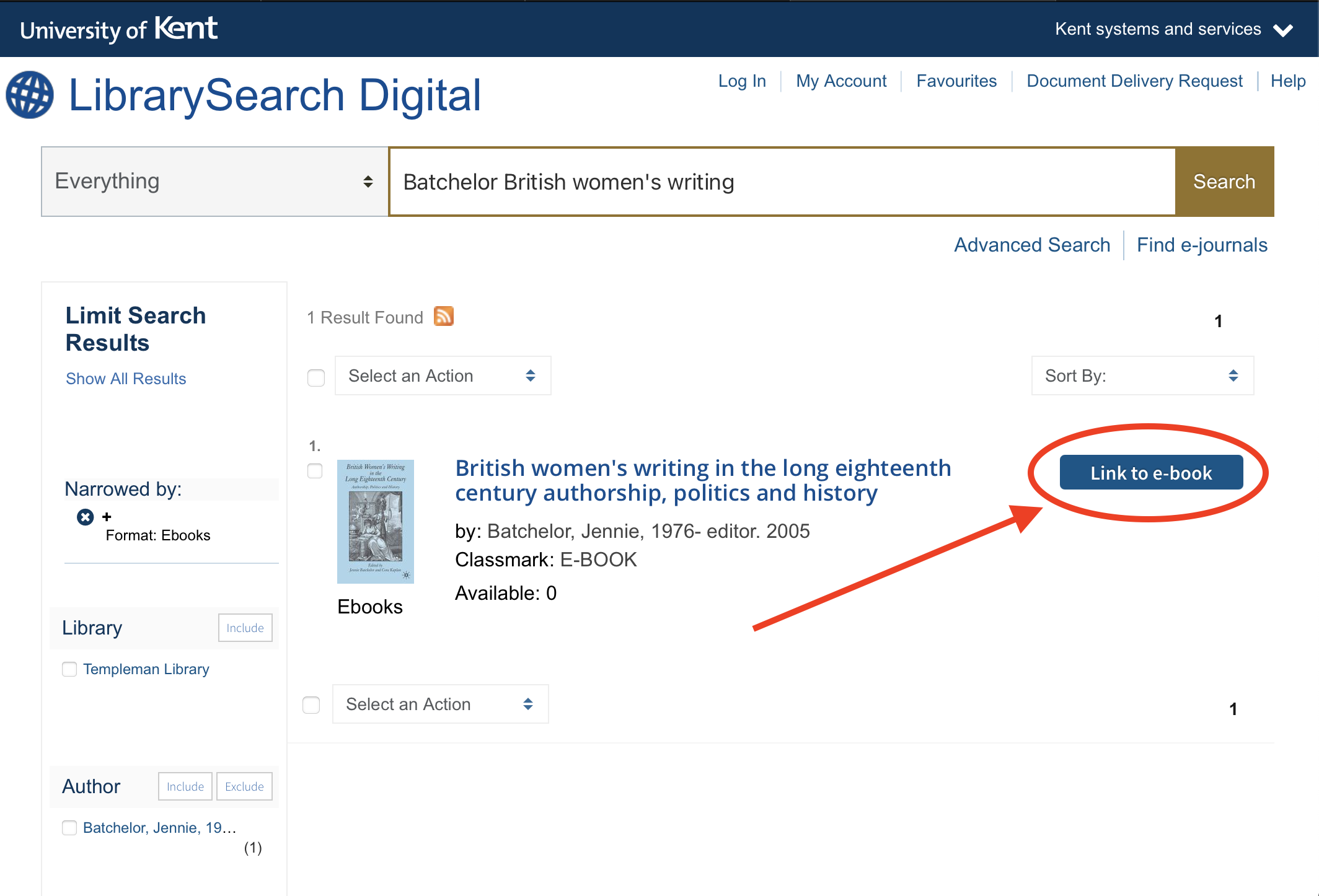 Screenshot of Library Search Digital results page indicating where to find link to e-book