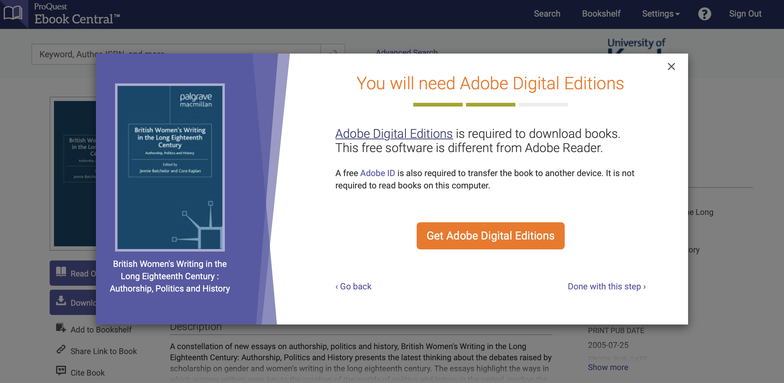 Screenshot of popup screen prompt for Adobe Digital Editions, the software needed to download some e-books in full