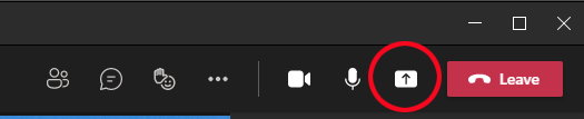Share button is an up arrow icon in the control bar