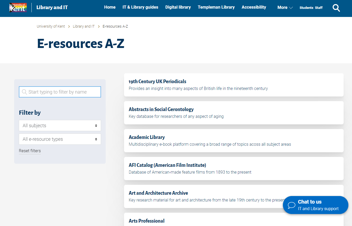Listing page with search box, filters and list of e-resources