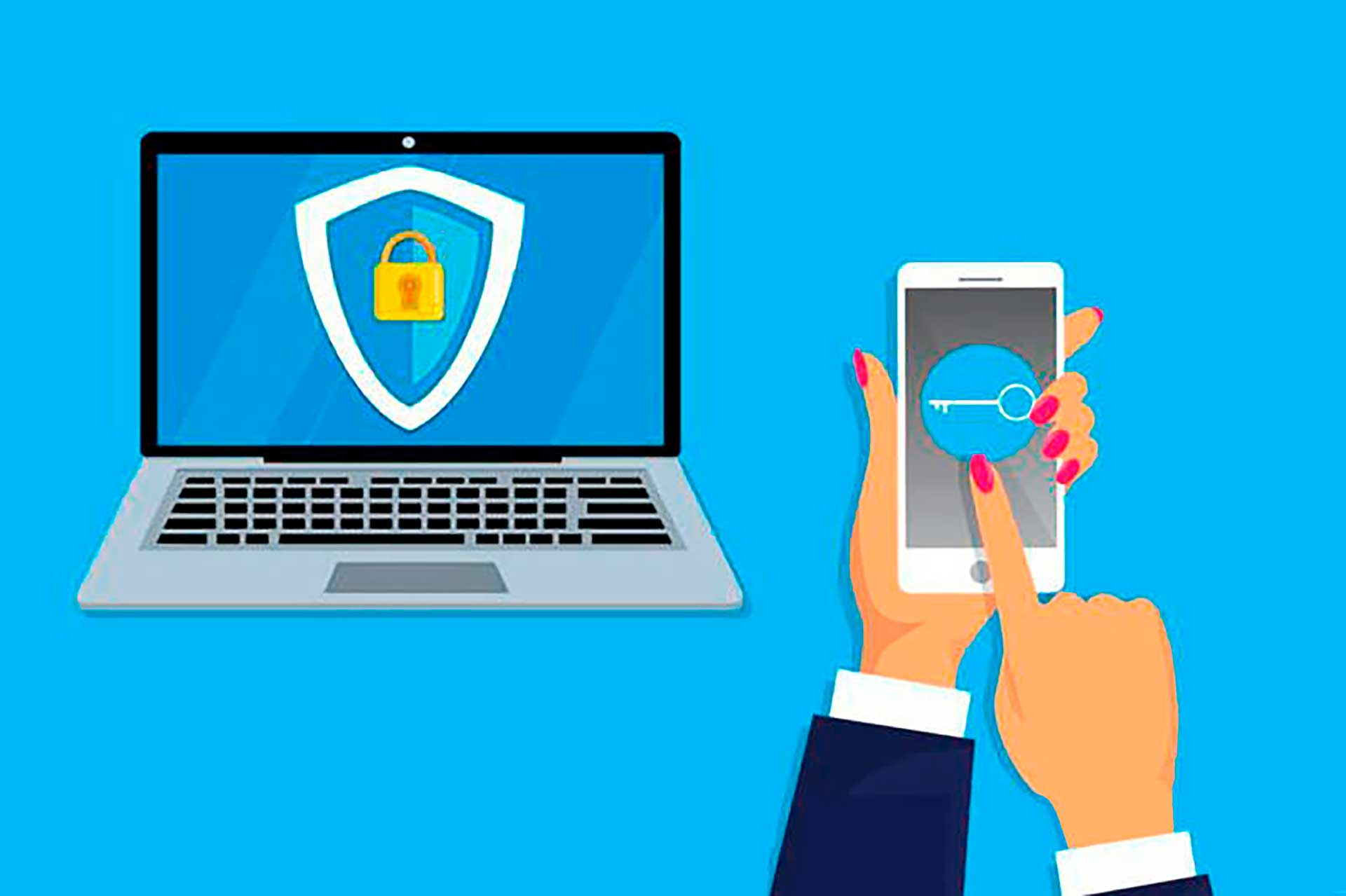 Laptop screen with security icon; hands holding mobile phone