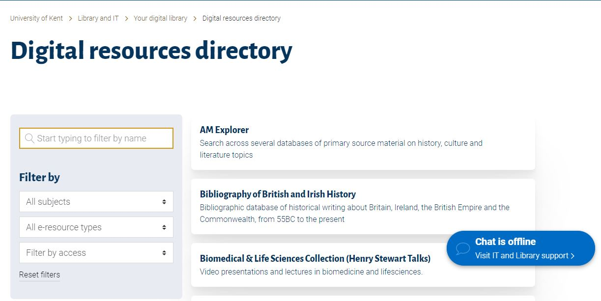 Landing page of the new digital resources directory, showing filters on the left and some resource records