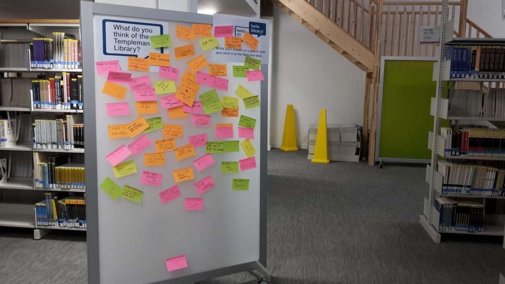 "Post-it notes on the Welcome Wall, answering the question ""What do you think of the Templeman Library?"""
