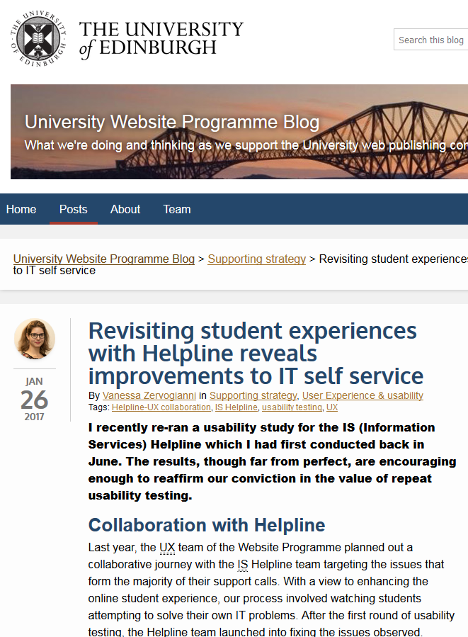 Edinburgh case study: UX testing to tackle known user