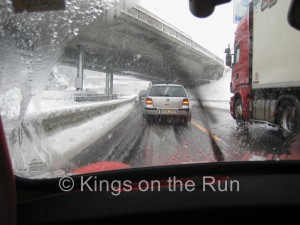 Snow and lorry on the Brenner Pass. Brrrr it was cold, too!